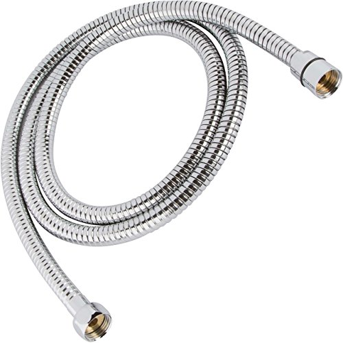 Universal 60 Inch Flexible Shower Hose - Extra Long, Stainless Steel, Double-Buckle For Handheld Showerhead - Aqua Elegante - Chrome