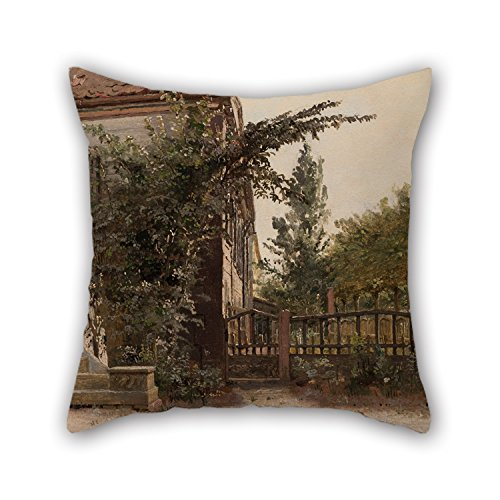 Slimmingpiggy Oil Painting Christen Købke - The Garden Steps Leading To The Artist's Studio On Blegdammen Throw Cushion Covers 20 X 20 Inches / 50 By 50 Cm Gift Or Decor For Couch,girls,kids,chair
