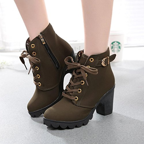 Ankle Shoes Platform Buckle Womens Army up High Fashion Heel Lace Green XILALU Boots Ladies 1qYAPxHwS