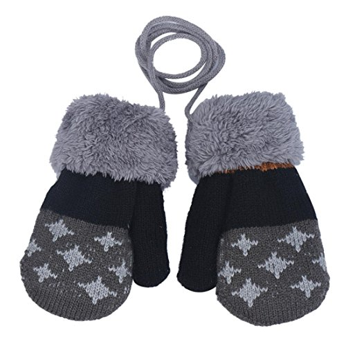Amiley Baby Kids Boy Girl Knitted Winter Warm Soft Mittens Gloves with String (Dark Grey)