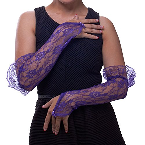 Fingerless Gauntlet - Fingerless Gauntlet Long Lace Gloves with Ruffle Greatlookz Colors: Black