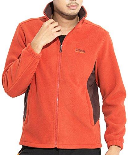 chouyatou Unisex Outdoor Sports Stand Collar Full Zip Softshell Micro-Fleece Jackets (X-Large, Orange-Man)