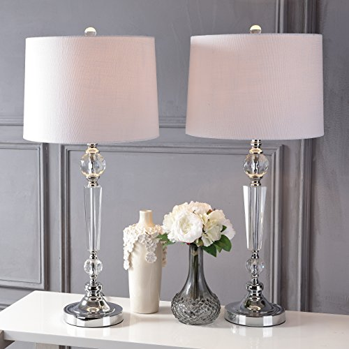 JONATHAN Y JYL2048A-SET2 Collection Emma 29.5 Crystal Table Lamp, Clear Set of 2 , Travel pillow-modelf211