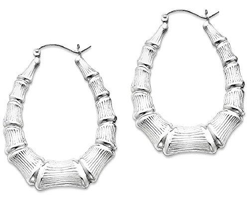 ad4177d89 925 Sterling Silver Oval Bamboo Hoop Earrings Ear Hoops Set Fine Jewelry  Gifts For Women For
