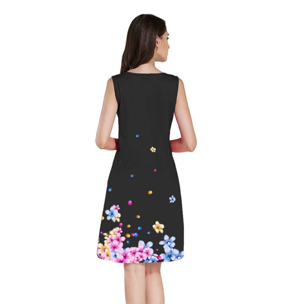 KIMODO Fashion Women Floral Printed Dress Sleeveless O Neck Evening Party Dresses: Amazon.co.uk: Clothing