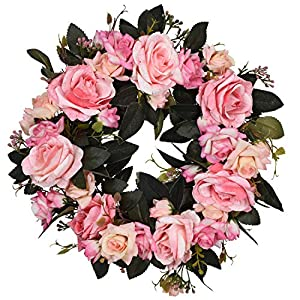 16 Inch Rose Floral Twig Wreath Handmade Artificial Flowers Garland Front Door Wreath 26