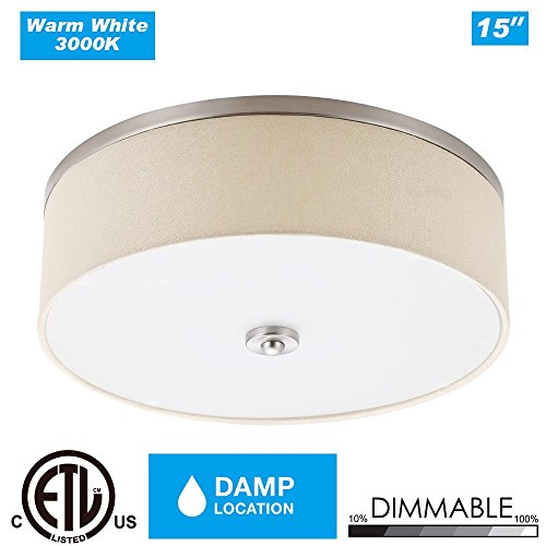 Cloudy Bay LFFM1523830YBN 15-inch 3000K Warm White Dimmable 23W 1400lm LED Fabric Flush Mount Ceiling Light -180W Incandescent Equivalent ETLBeige Linen Fabric Shades Brush Nickel