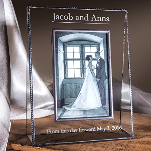 J Devlin Pic 319-46V EP548 Clear Glass 4x6 Picture Frame Vertical Portrait Personalized Wedding Engagement Photo Engraved Keepsake Gift
