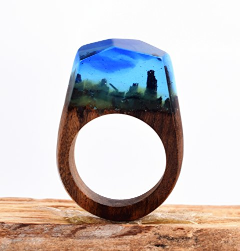 Heyou Love Handmade Wood Resin Ring With Nature Scenery Landscape Inside Jewelry by Heyou Love (Image #6)'