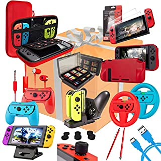 Switch Accessories Bundle - Orzly Geek Pack for Nintendo Switch: Case & Screen Protector, Joycon Grips & Racing Wheels, Switch Controller Charge Dock, Comfort Grip Case & More - ColourPop