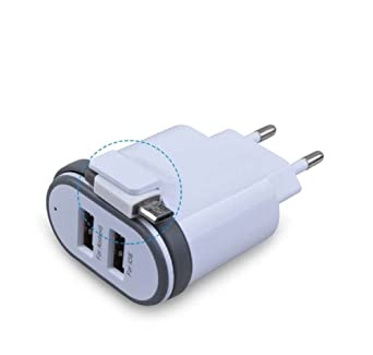 Amazon.com: Cargador de pared europeo AKWOR 2,1 A 5 V ...
