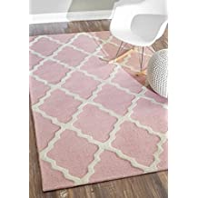 nuLOOM 200MTVS27V-508 Hand-Hooked Contemporary, Transitional, Kids 100 Percent Wool Baby Pink Rug (5-Feet X 8-Feet)