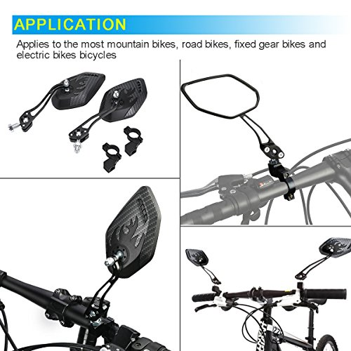 Bike Mirror, Veanic Universal Adjustable Rearview Handlebar Safety Glass Mirrors Lens for Mountain Road Cycling Bicycle Electric Bike - Pair by Veanic (Image #5)
