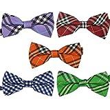 Ukerdo Mens Plaid Tuxedo Bow Tie 5 in 1 Adjustable Pre-Tied Bow Ties Collection