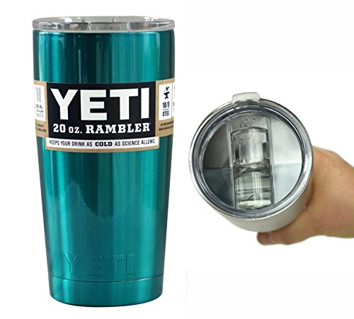 YETI Coolers Custom 20 Ounce (20oz) (20 oz) Rambler Tumbler Cup Mug with Extra Spill Proof Lid - Keeps your drink cold or hot for hours (Teal Shimmer)