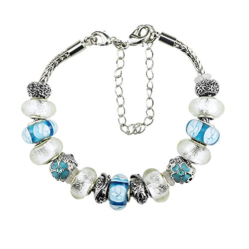 Charm Bracelets with Charm for Pandora Women Silver Plated White and Sky Blue Good Luck 7.5