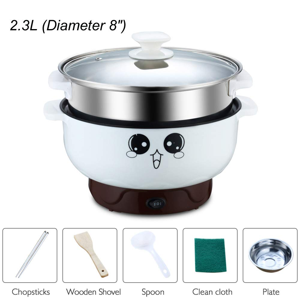 "JIAN YA NA 110V Electric Skillet with Lid 4-in-1 Multifunction Non-Stick Stainless Steel Electric Hot Pot Noodles Rice Cooker Steamed Egg Soup Pot Mini Heating Pan Cooking Fried (2.3L (Diameter 8""), Electric Skillet With Steamer)"