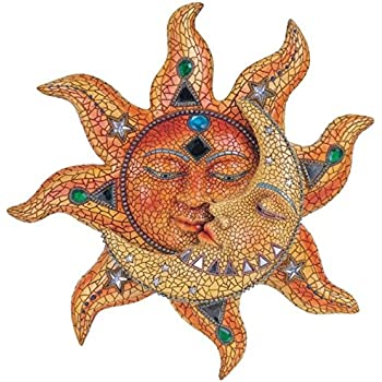 George S. Chen Imports Polyresin Orange Mosaic Face Sun with Yellow Mosaic Moon, 13