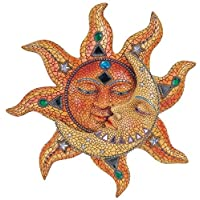 George S. Chen Imports Polyresin Orange Mosaic Face Sun with Yellow Mosaic Moon,...