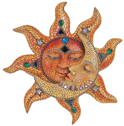 George S. Chen Imports Polyresin Orange Mosaic Face Sun with Yellow Mosaic Moon, (Wall Sculpture Home Garden)