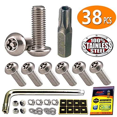 Stainless Steel License Plate Screws - Anti Theft License Plate Frame Screws Tamper Resistant Fasteners | 1/4