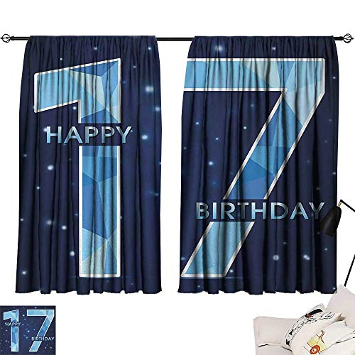 Jinguizi 17th Birthday Curtain for Bathroom Space Stage Theme Image with Star Like Dots Seventeen Youth Theme Microfiber Darkening Curtains Sky Blue and Navy Blue W55 x L39 by Jinguizi (Image #6)