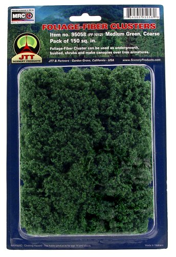 JTT Landscaping Material - Foliage Fiber Clusters, Medium Green, Coarse