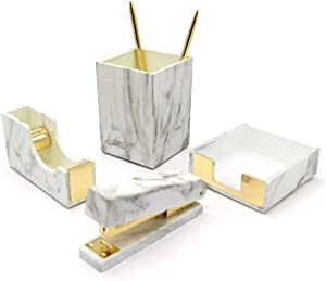 MultiBey Marble Office Supplies Desk Accessories Organizer Desktop Decor Set-Tape Dispenser Stapler, Staple, Pen Pencil Organization Holder, Sticky Notes Memo Pad Holder (Marble White Gold)