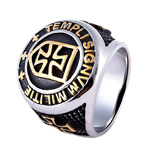 ZMY Mens Fashion Titanium Jewelry 316L Stainless Steel Rings Gold Cross Knights Templar Ring For Men