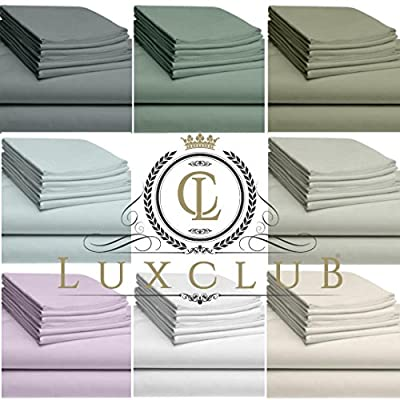 LuxClub 6 PC Bamboo Sheet Set 18 inch Deep Pocket Sheets Eco Friendly, Wrinkle Free, Hypoallergenic, Antibacterial, Moisture Wicking, Fade Resistant, Silky, Earth Friendly Product