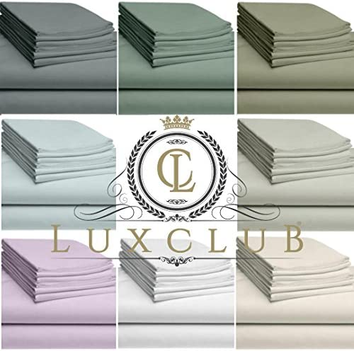 "LuxClub 6 PC Sheet Set Bamboo Sheets Deep Pockets 18"" Eco Friendly Wrinkle Free Sheets Machine Washable Hotel Bedding Silky Soft - Light Grey Queen"
