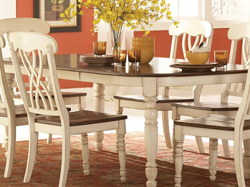 Ohana Dining Table by Home Elegance in 2 Tone Antique White & Warm Cherry