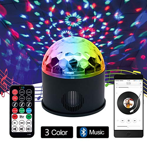 AOKARLIA Portable Party Speaker Lights, Crystal Ball Disco Bluetooth/LED Stage Lights Support FM TF Card AUX,USB -