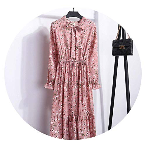 Chiffon High Elastic Waist Party Bow A-line Full Sleeve Flower Floral Bohemian Dress Plus Size,Color 14,L