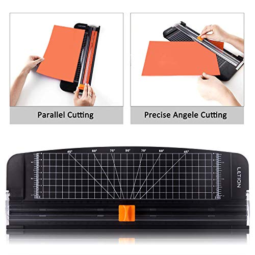 LETION A4 Paper Cutter,Paper Trimmer Guillotine with Automatic Security SafeguardScrapbooking Toolfor Cutting Paper Photographs or Labels Office Home Manual, Black