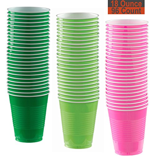 (18 oz Party Cups, 96 Count - Festive Green, Lime Green, Hot Pink - 32 Each Color)