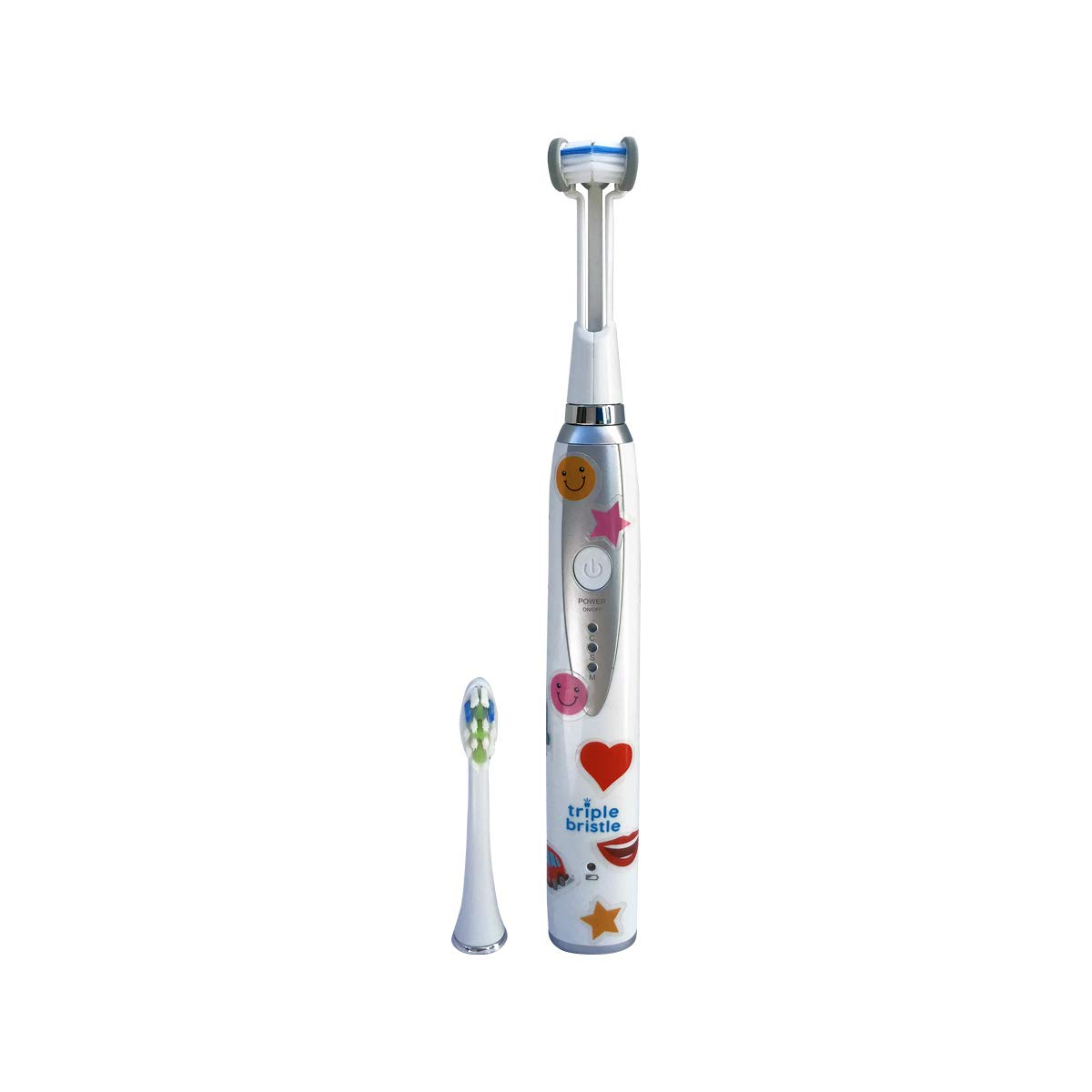 Triple Bristle Best Kids Sonic Toothbrush – Whiter Teeth Brighter Smile – Rechargeable 31,000 VPM Tooth Brush – Patented 3 Brush Head Design – Perfect Angle Bristles Clean Each Tooth One Pack