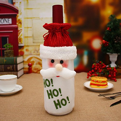 Tenworld Christmas Decoration Santa Claus Red Wine Bottle Cover Bags (A)