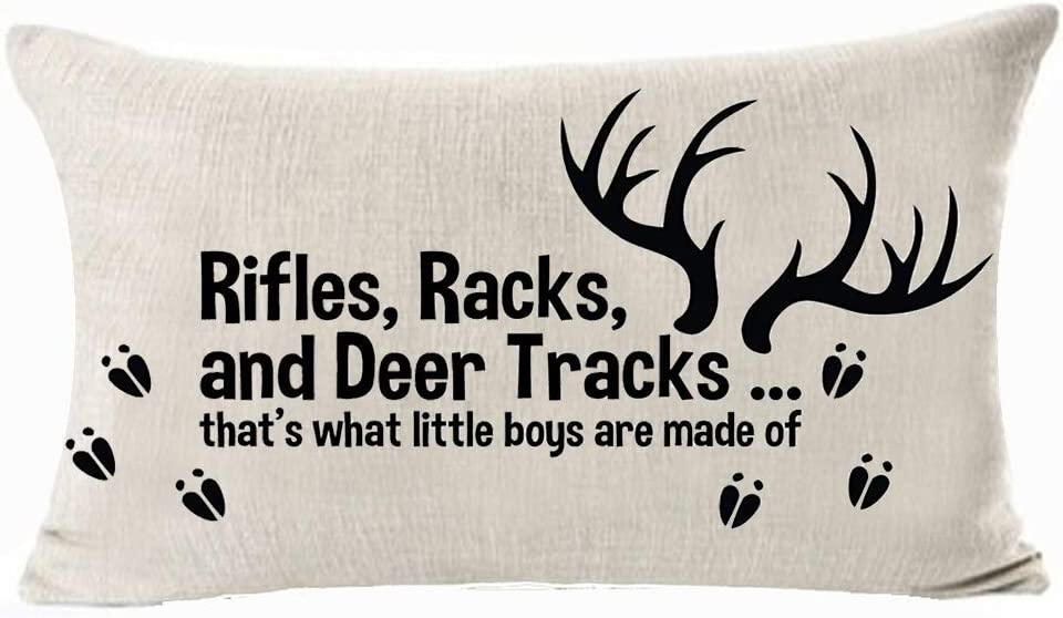 Queen's designer Rifles Racks And Deer Tracks That's What Little Boys Are Made Of Cotton Linen Decorative Throw Lumbar Waist Pillow Case Cushion Cover Rectangle 12 X 20 Inches