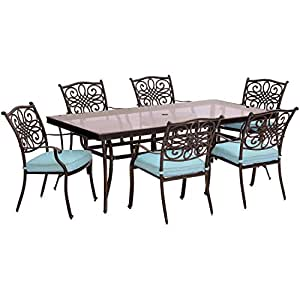 Traditions 7-Piece Dining Set with Rectangular Glass-Top Dining Table