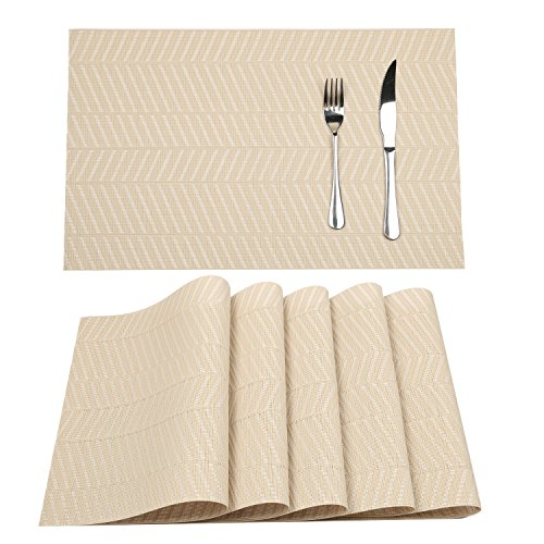 HEBE Kitchen Table Placemat Set of 6 Cream Woven Washable Placemats Heat Resistant for Dining Table Kitchen Table Place Mat (cream, 6)
