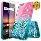 NageBee Glitter Liquid Quicksand Case Compatible ZTE Blade Vantage/Fanfare 3 /Avid 4 /Tempo X/AVID (557)/ZFive G/ZFive C LTE (Z557BL,Z558VL)/Tempo GO w/[Tempered Glass Screen Protector]-Pink/Aqua