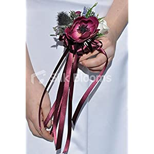 Silk Blooms Ltd Plum 'Real Touch' Anemone & Scottish Thistle Ribbon Flowergirl Wand 30