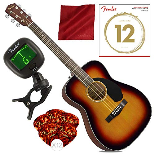 (Fender CC-60S Acoustic Guitar, 3-Color Sunburst with Guitar Strings, Picks, Tuner & Cloth Starter Pack Bundle)