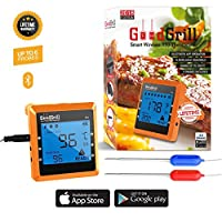 Wireless Meat Thermometer - Smart Original BBQ Grill Thermometer with Remote WIFI Mobile APP, Digital Bluetooth Connectivity - Oven Cooking Smoker with Large LCD Display & Dual Probes - Range 330 Feet made by  legendary GoodGrill
