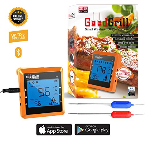 Wireless Meat Thermometer - Digital Bluetooth BBQ Remote Thermometer with WIFI & Mobile APP - Best for Grill, Oven Cooking & Smoker with Large LCD Display and Dual Probes - Monitors Food from 300 Feet