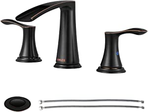 PARLOS Waterfall Widespread Bathroom Faucet Double Handles with Metal Pop Up Drain & cUPC Faucet Supply Lines, Oil Rubbed Bronze , Demeter 1431803
