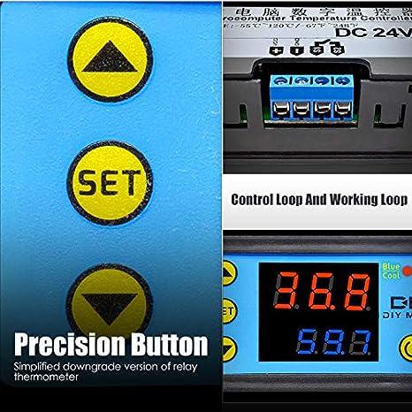 m/ódulo de sensor NTC 12 V CC. Termostato con pantalla digital dual W3231 controlador de temperatura inteligente