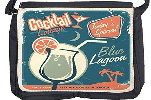 Borsa Tracolla Nostalgico Alcool Retro Laguna blu Stampato