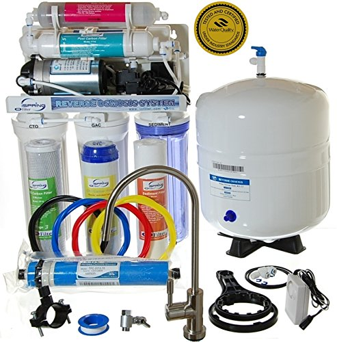 iSpring RCC7P-AK - WQA GOLD SEAL - 6-Stage 75GPD Reverse Osmosis Water Filter System with Real (not Permeate) Booster Pump (110v & 220v compatible) and Alkaline Mineral stage